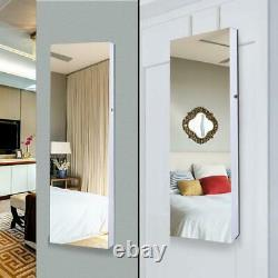Full Large Wall/Door Mounted Mirror Jewelry Cabinet Armoire Acrylic Storage Lock