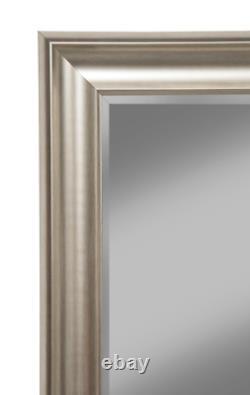 Full Length Floor Mirror Bathroom Vanity Wall Hang Leaner Large Beveled Silver