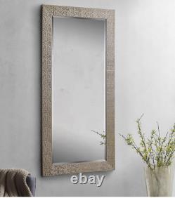 Full Length Floor Mirror Large Wall Leaner Mosaic Bedroom Bathroom Lounge Silver