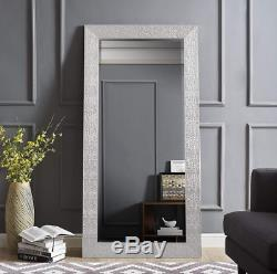 Full Length Floor Mirror Large Wall Leaner Silver Mosaic Bedroom Bathroom Lounge