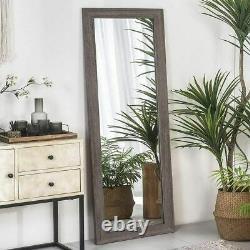 Full Length Floor Mirror Large Wall Mirror Rustic Wood Frame 63 Inch Gray