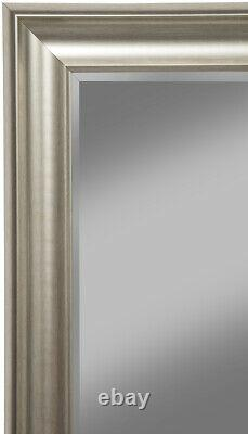 Full Length Leaner Mirror Champagne Silver Frame Large Glass Living Room Mirror