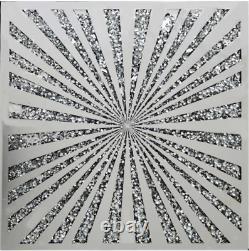 Gatsby Diamond Crush Crystal Sparkly Silver Mirrored Large Wall Art Sunburst