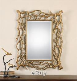 Gold Tree Branch Decorative Beveled Wall Mirror Large 40