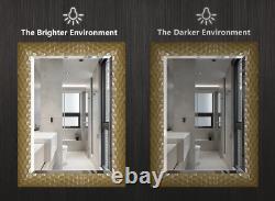 Gold Wall Mirror Hanging Bathroom Vanity Leaner Large Beveled Leaner Bronze New