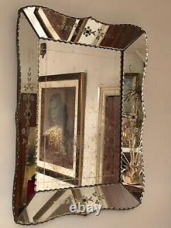Gorgeous Antique Venetian Wall Mirror. Scallop Edge. Large French Etched Vin