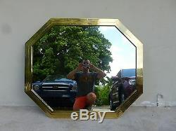 Gorgeous Large 70's Mastercraft Style Stepped Solid Brass Octagonal Mirror P