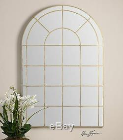 Grantola Oversize XXL 72 Hand Forged Arched Metal Aged Gold Floor Wall Mirror