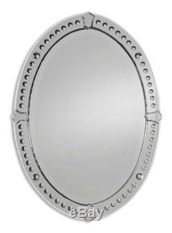 Grecian Frameless Venetian Style Oval Wall Mirror Large 34