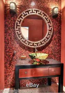 Greek Key Tuscan Gold Silver Modern Round Designer Wall Mirror Large 41