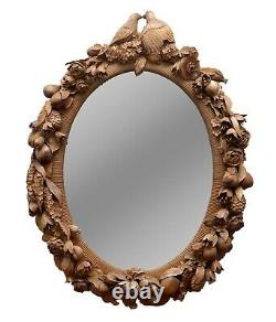 Grinling Gibbons Style Love Birds, Flowers Heavily Carved Large Oval Wall Mirror
