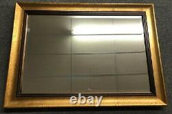 HEAVY Large Modern 42 X 30 Rustic Gold Framed Beveled Hanging Wall Mirror