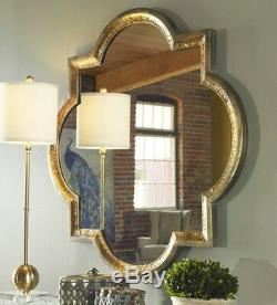 Hammered Metal Two Tone Modern Accent Wall Mirror Lourosa Large Gold Silver 40
