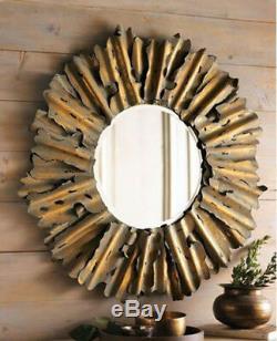 Hand Hammered Metal Gold Round Sunburst Wall Mirror Large 43