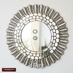 Handmade Silver Sunburst RoomDecor Wood Large Decorative Round wall Mirror 31.5
