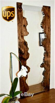 Handmade Walnut Wood Large Wall Frame Mirror Rustic Handcrafted Home Decor