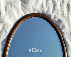 Huge Antique Oval Mirror English Oak Framed Beveled Wall Mirror Large 1920s
