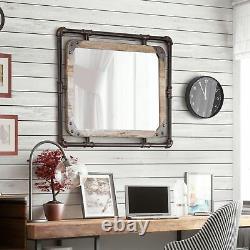 Industrial Farmhouse Wall Mirror Large Rustic Vanity Vintage Wood & Pipe Frame