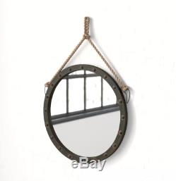 Industrial Wall Mirror Round Accent Bathroom Vanity Makeup Rustic 39'' Large