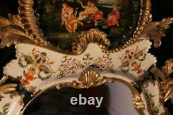 Italian 62 Gold Giltwood Chinoiserie Japanned Large Rococo Console Wall Mirror