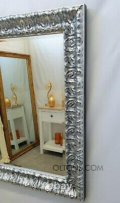 John Lewis Marilyn Solid Wood Ornate Bevelled Large Wall Mirror Silver 123x97cm