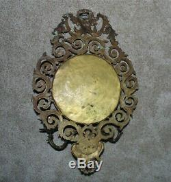 LARGE 19th c. Brass Mirror Wall Sconce Antique Victorian North Wind & Lion Head