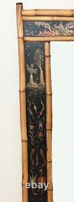 LARGE 19th c Style Hand Painted Japanned Chinoiserie Bamboo Wall Mirror 52x34