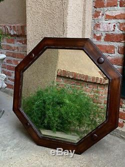 LARGE Antique English Oak Beveled WALL MIRROR Frame Round Octagon Jacobean
