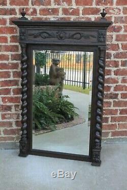 LARGE Antique English Oak Mirror BARLEY TWIST Beveled Wall Pier Mantel Mirror