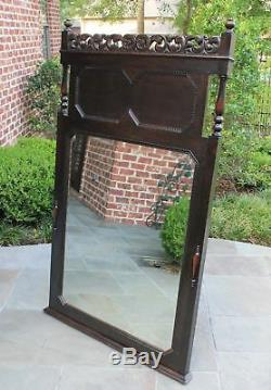 LARGE Antique English Oak Mirror JACOBEAN Beveled Wall Pier Mantel Mirror Tudor