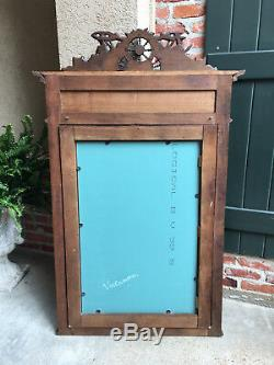 LARGE Antique French Breton Brittany Carved Oak Frame PIER WALL MIRROR Chestnut