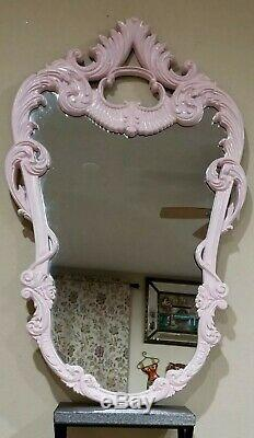 LARGE French Ornate Baroque Pink Painted Resin Oval Wall Mirror 48.5 X 30.5
