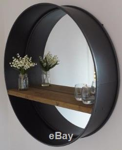 LARGE Industrial Round Metal Wall Mirror With Rustic Wooden Shelf NEW 80cm