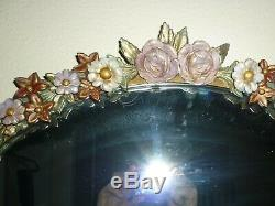 LARGE VINTAGE 1930's ENGLISH COUNTRY BARBOLA SHABBY CHIC WALL MIRROR