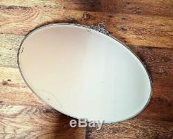 LARGE VINTAGE ART DECO 1930s OVAL-CHROMED FRAMED BEVELLED EDGE WALL MIRROR