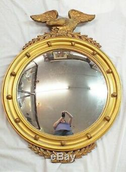 LARGE Vintage 1950s EAGLE Gold Leaf Giltwood CONVEX Glass WALL MIRROR Patriotic