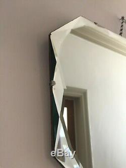 LARGE Vintage Frameless Overmantle Wall Mirror Bevelled Edges Antique 68cm m251