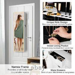 LED Armoire Large Jewelry Box Organizer Mirror Wall Door Mounted Jewelry Cabinet