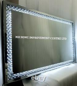 LED Light Up Sparkly Floating Crystal Large Silver Wall Mirror 110x70cm