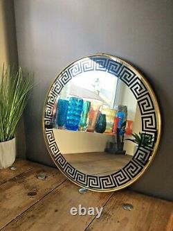 Large 16 Retro Greek Key Design 60's 70's Round Wall Mirror Vintage Kitsch MCM