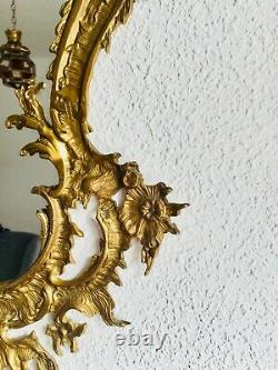 Large 29 French Antique Ornate Cast Brass Wall Mirror, Frame, Rococo Baroque