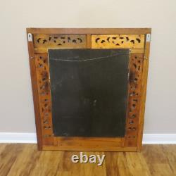 Large 31 x 35 Vintage Hand Carved Wood Wall Hall Mirror with Shutter Doors