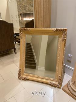 Large 32.5x38.5 Gold Antique Vintage Chic Ornate Wall Mirror Baroque Beveled