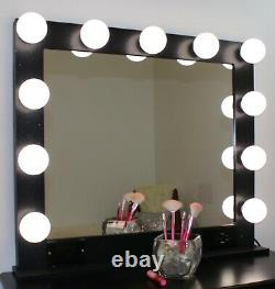Large 32x28 Hollywood style lighted vanity makeup mirror tabletop or wall mount