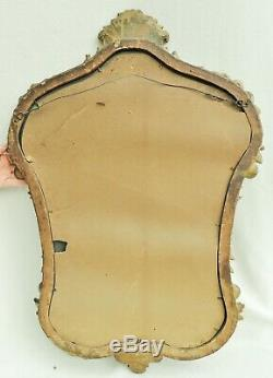 Large 33 Antique c1933 French Ornate Gold Gilt Carved Wood Floral Wall Mirror