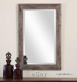 Large 36 Burnished Wood Frame & Aged Gold Leaf Rectangular Beveled Wall Mirror