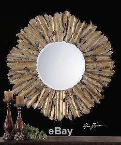 Large 43 Forged Hammered Aged Gold Leaf Metal Round Beveled Sun Wall Mirror