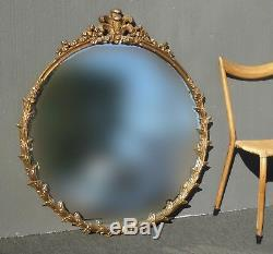 Large 44 Tall Vintage French Rococo Louis XVI Round Gold Wall Mantle Mirror