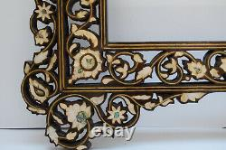 Large 47 Moroccan Handcrafted Mother of pearl Inlaid Wood Wall Mirror Frame