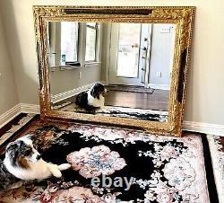 Large 58 3/4 x 46 3/4 Ornate Black & Gold Mirror